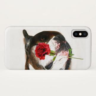 Coque iPhone X Chien de boxeur avec la caisse rose de l'iPhone X