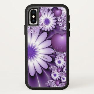 Coque iPhone X Chute dans le nom de fleurs et de coeurs d'abrégé