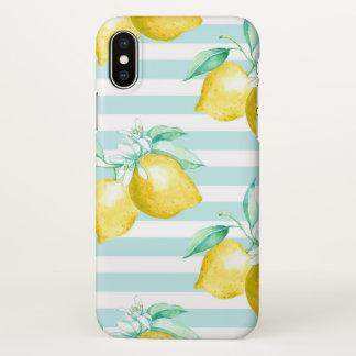 Coque iPhone X Citrons jaunes bleus layette et blanc barrés