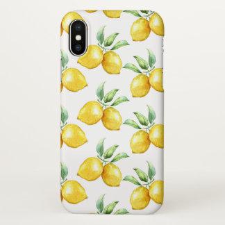 Coque iPhone X Citrons jaunes sur le blanc