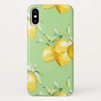 Coque iPhone X Citrons jaunes sur vert clair