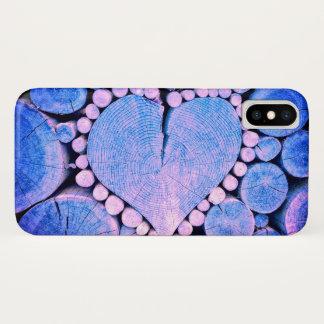 Coque iPhone X Coeur en bois
