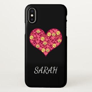 Coque iPhone X Coeur mignon d'Emoji de lèvres de baiser d'amour
