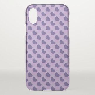 Coque iPhone X Coeurs pourpres ultra-violets de sucrerie