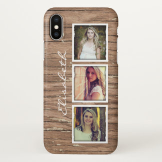 Coque iPhone X Collage en bois rustique de photo d'Instagram de