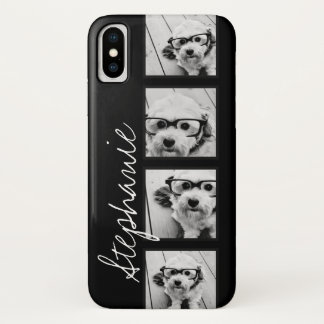 Coque iPhone X Collage noir et blanc de photo d'Instagram