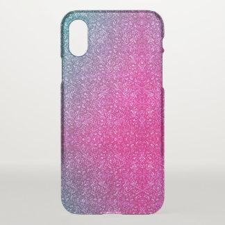 Coque iPhone X Coloré lumineux floral bleu amorti de rose au néon