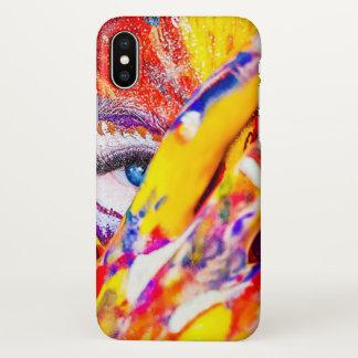 Coque iPhone X Conception d'art de corps d'art de bruit sur la