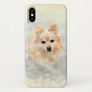 Coque iPhone X Conception en pastel pour aquarelle de chien de