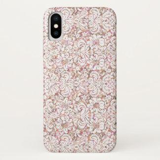 Coque iPhone X Conception florale vintage blanche rose mignonne