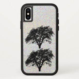 Coque iPhone X Conception noire fraîche d'arbres