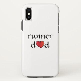 Coque iPhone X Conception rouge de coeur de papa de coureur