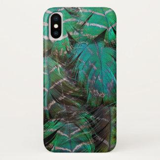Coque iPhone X Conception verte de plume de paon