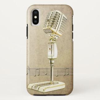 Coque iPhone X Conception vintage de microphone
