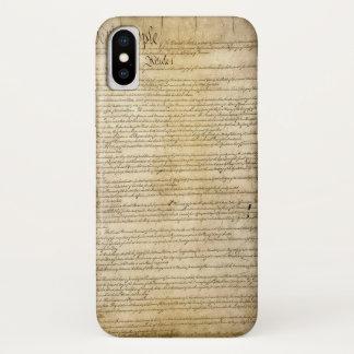 Coque iPhone X Constitution d'Etats-Unis vintage