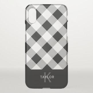 Coque iPhone X Contrôle noir et gris - monogramme