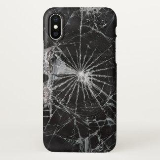 Coque iPhone X copie en verre cassée noire