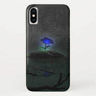 Coque iPhone X Coque-Compagnon d'iPhone de rose de bleu