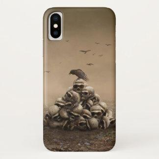 Coque iPhone X Corneille se reposant sur une pile des avirons