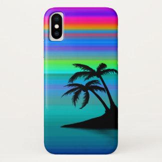 Coque iPhone X Coucher du soleil tropical d'île à peine là