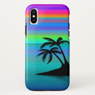 Coque iPhone X Coucher du soleil tropical d'île dur