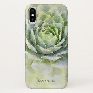 Coque iPhone X Coutume de Succulent d'aquarelle