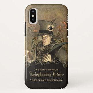 Coque iPhone X Coutume folle drôle de chapelier de Steampunk