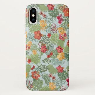 Coque iPhone X Couverture de fleurs tropicales