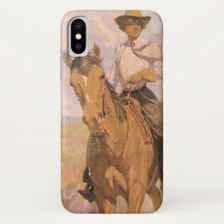 Coque iPhone X Cowboy vintage de cow-girl, femme sur le cheval
