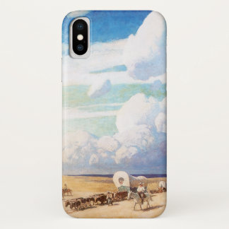 Coque iPhone X Cowboys occidentaux vintages, chariots couverts