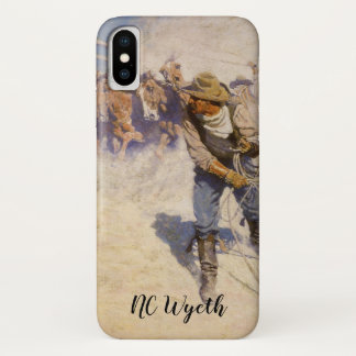 Coque iPhone X Cowboys occidentaux vintages, dans le corral par
