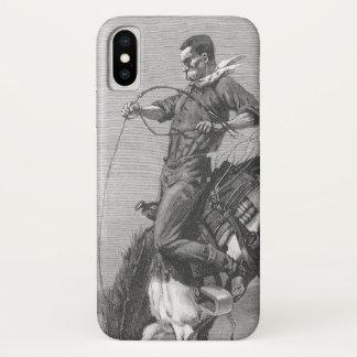 Coque iPhone X Cowboys vintages de rodéo, Bronco s'opposant par
