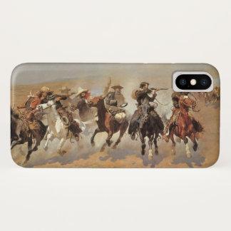 Coque iPhone X Cowboys vintages, un tiret pour le bois de