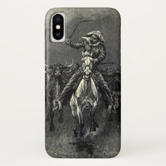 Coque iPhone X Cowboys vintages, une ruée par Frederic Remington