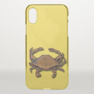 Coque iPhone X Crabe de cuivre sur le jaune
