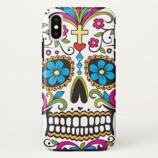 Coque iPhone X Crâne coloré de sucrerie