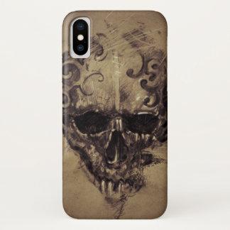 Coque iPhone X Crâne de tatouage au-dessus de papier vintage