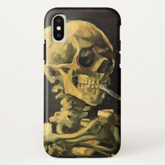 Coque iPhone X Crâne de Van Gogh avec la cigarette brûlante, art