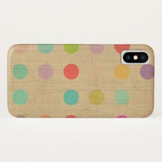 Coque iPhone X Crème de beige de Tourquise de pois de cas