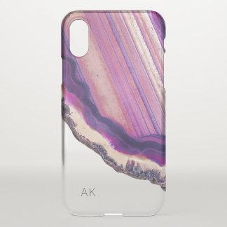 Coque iPhone X Cristal pourpre clair personnalisé de l'affaire  