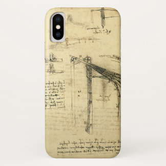 Coque iPhone X Croquis à ailes de machine de vol par Leonardo da