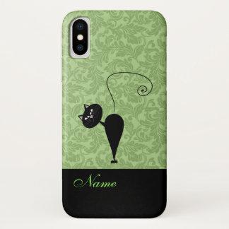 Coque iPhone X Damassé à la mode drôle lunatique de chat noir