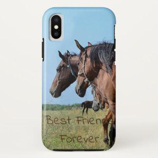 Coque iPhone X De meilleurs amis beaux chevaux de Brown pour