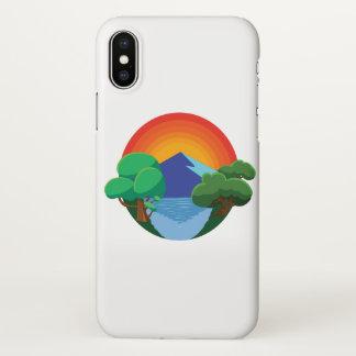 Coque iPhone X 👍 de Sun, de montagne, de lac et d'arbres