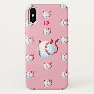 """Coque iPhone X """"Démons de base-ball"""" (pâlissez - le rose)"""