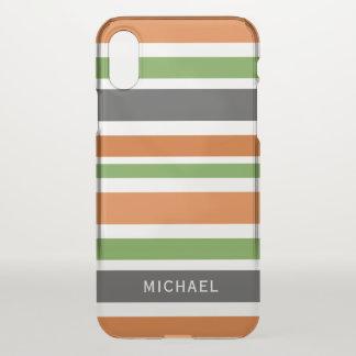 Coque iPhone X Des rayures d'octobre - ajoutez votre nom