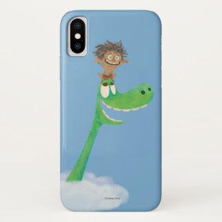 Coque iPhone X Dessin de tache et d'Arlo en nuages