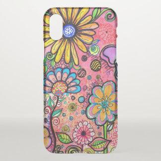 Coque iPhone X Dessin psychédélique de fleur