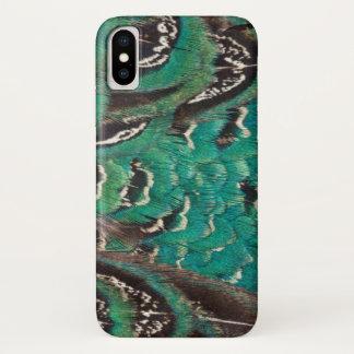 Coque iPhone X Détail de plume de faisan de turquoise