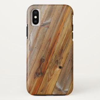 Coque iPhone X Diagonale en bois de planche
